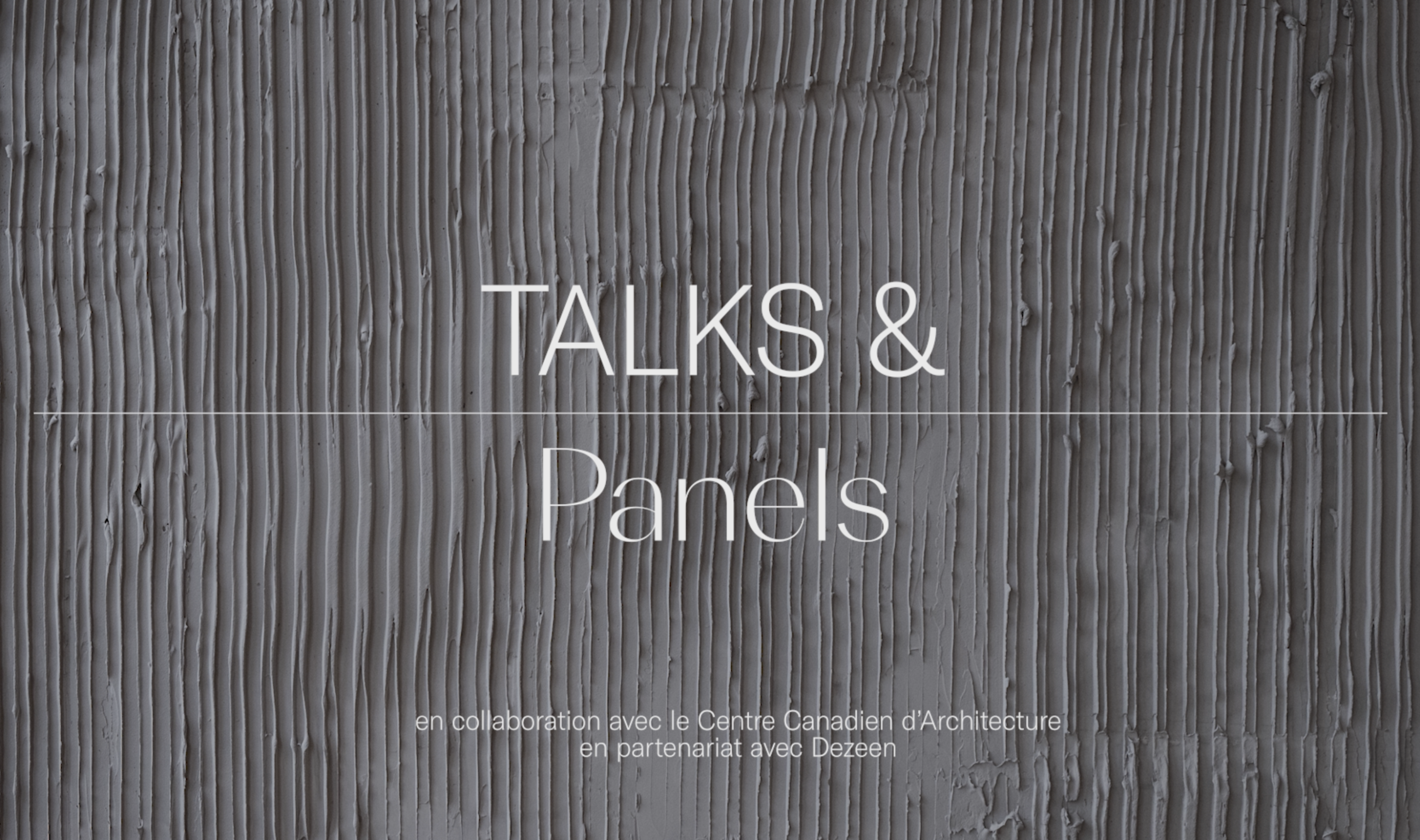 TALKS & PANELS - fr